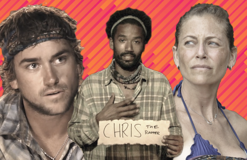 J. T. Thomas, Wendell Holland and Corinne Kaplan in Survivor. (CBS)