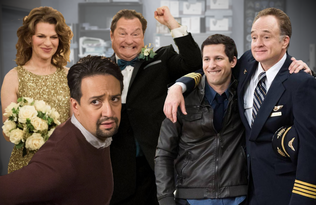 Sandra Bernhard, Lin Manuel Miranda, Stephen Root, Andy Samberg and Bradley Whitford in Brooklyn Nine-Nine. (NBC)