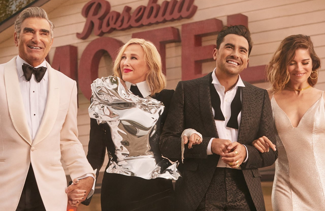 Eugene Levy, Catherine O'Hara, Dan Levy, and Annie Murphy in Schitt's Creek. (Pop TV)