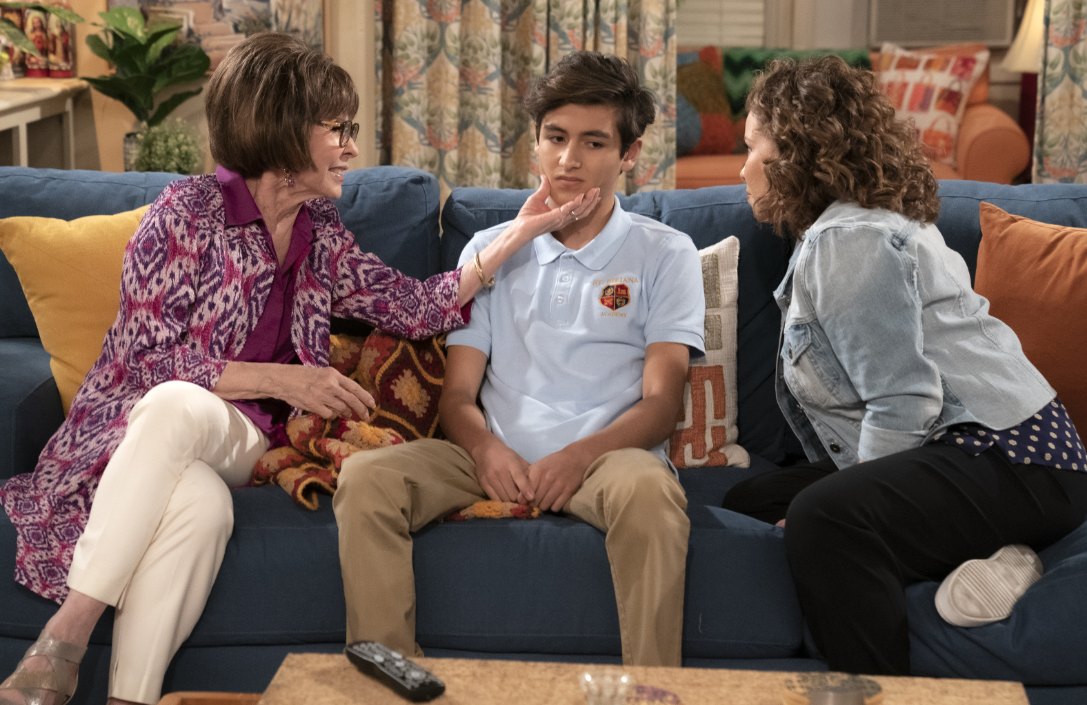 Rita Moreno, Marcel Ruiz and Justina Machado in One Day at a Time. (Pop TV)