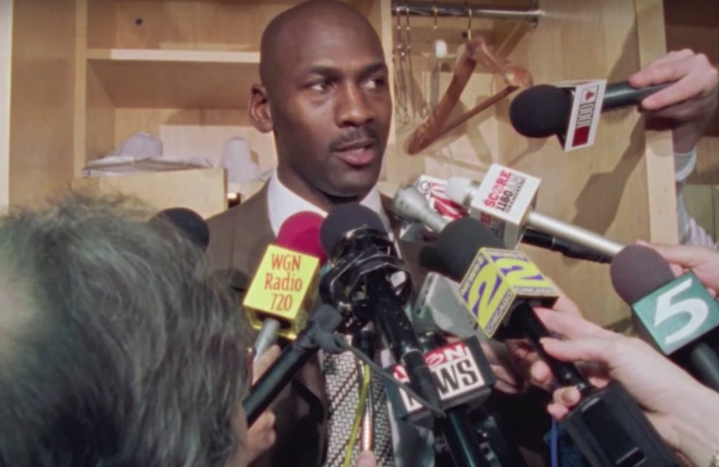 Michael Jordan in an image from the new docuseries The Last Dance. (ESPN)