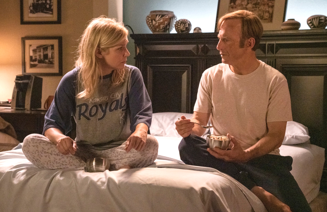 """Wouldn't I?"" Rhea Seehorn and Boh Odenkirk in Monday night's Better Call Saul season finale. (AMC)"