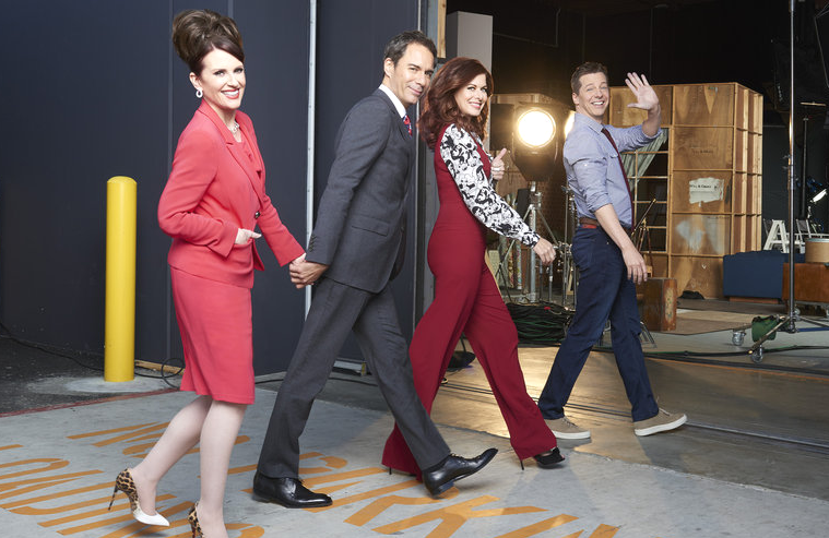 Megan Mullally, Eric McCormack, Debra Messing, and Sean Hayes in Will & Grace. (NBC)