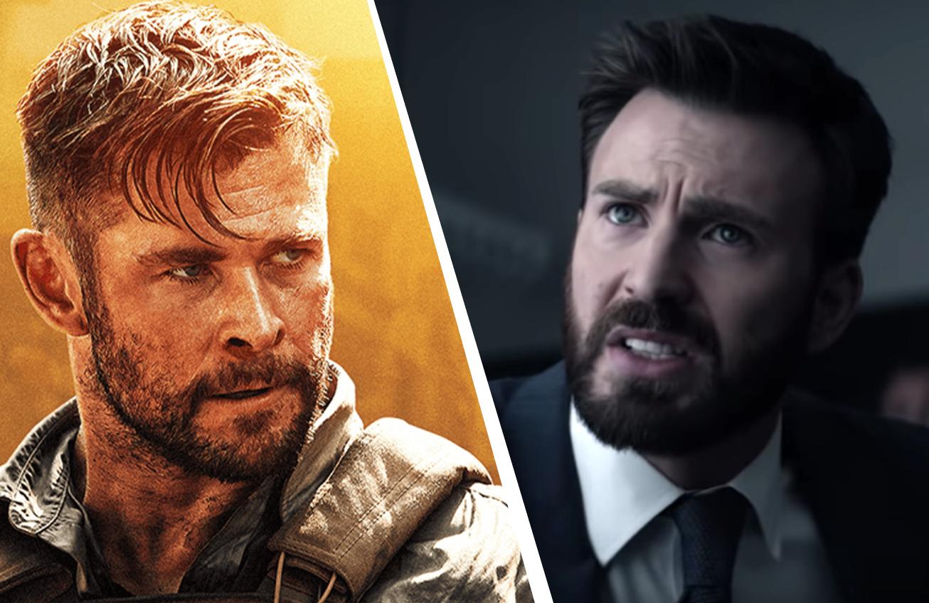 Chris Hemsworth in Extraction (Netflix) and Chris Evans in Defending Jacob. (Apple TV+)