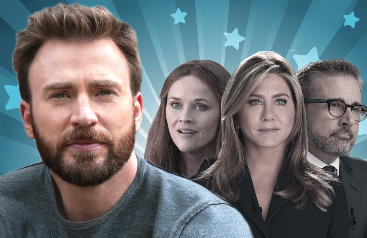Chris Evans in Defending Jacob and Reese Witherspoon, Jennifer Aniston and Steve Carell in The Morning Show. (Photos: Apple TV+)