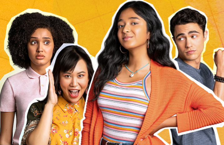 Lee Rodriguez, Ramona Young, Maitreyi Ramakrishnan and Darren Barnet in Never Have I Ever. (Netflix)