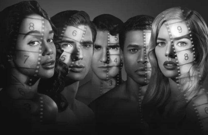 Laura Harrier, David Corenswet, Darren Criss, Jeremy Pope and Samara Weaving in Hollywood. (Netflix)