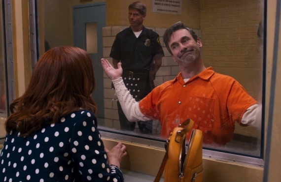 Ellie Kemper, Jack McBrayer, and Jon Hamm in Unbreakable Kimmy Schmidt: Kimmy vs the Reverend. (Photo: Netflix)