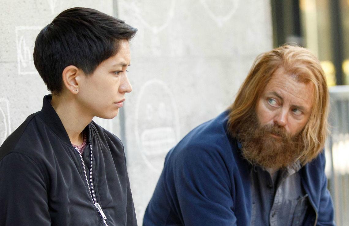 Sonoya Mizuno and Nick Offerman in Devs. (Hulu)