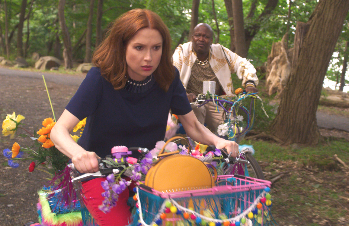 Kimmy Schmidt (Ellie Kemper, seen here with Tituss Burgess) is back — and so is her steely determination  — in Netflix's interactive special Unbreakable Kimmy Schmidt: Kimmy vs the Reverend. (Photo: Netflix)
