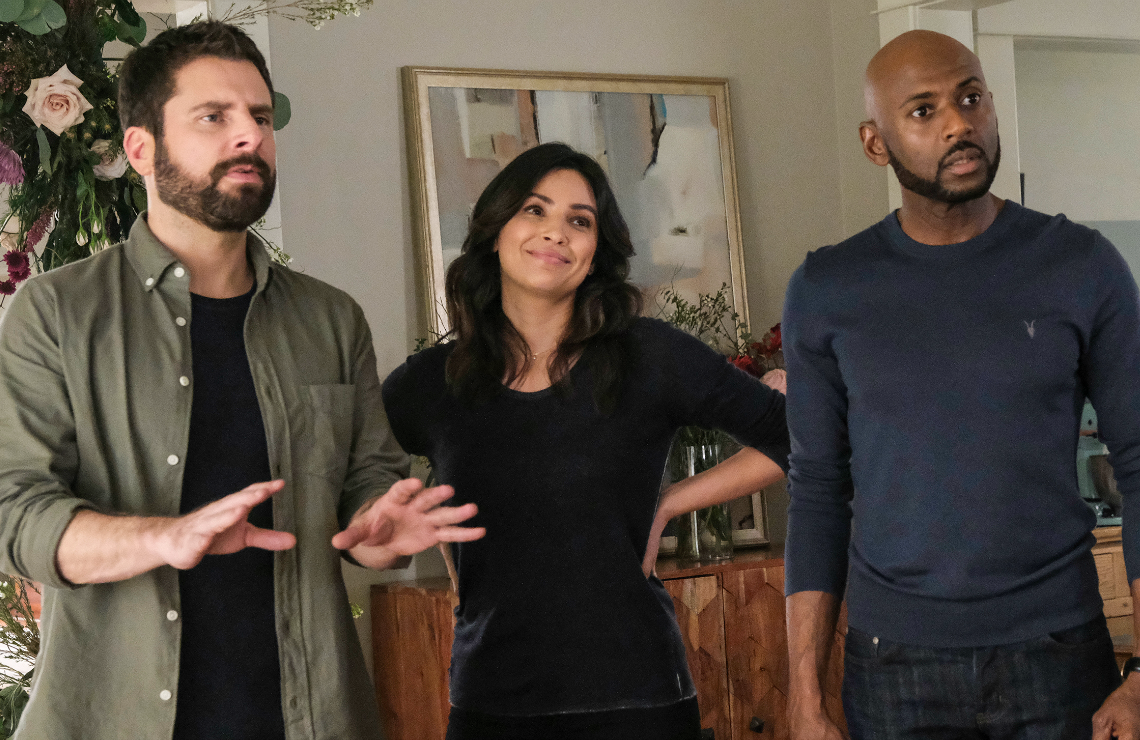 James Roday, Floriana Lima, and Romany Malco in A Million Little Things. (Photo: ABC)