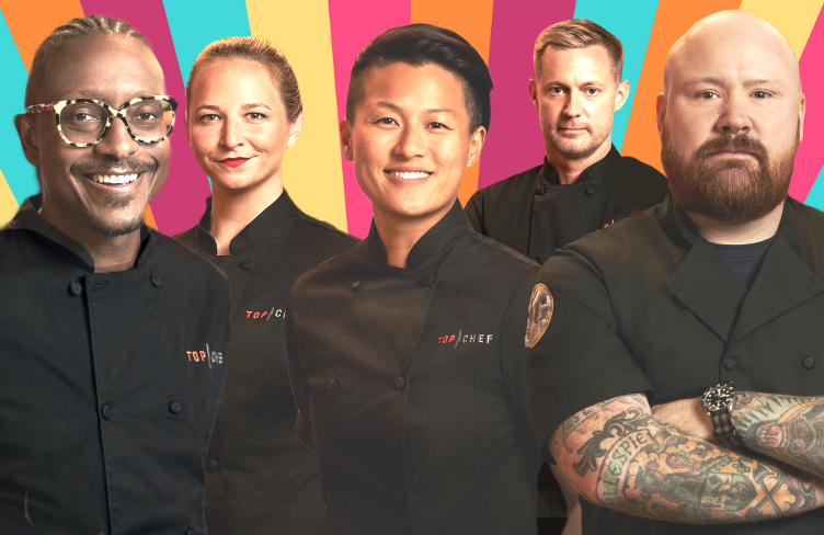 Gregory Gourdet, Stephanie Cmar, Melissa King, Bryan Voltaggio and Kevin Gillespie in Top Chef All Stars: L.A.. (Bravo)