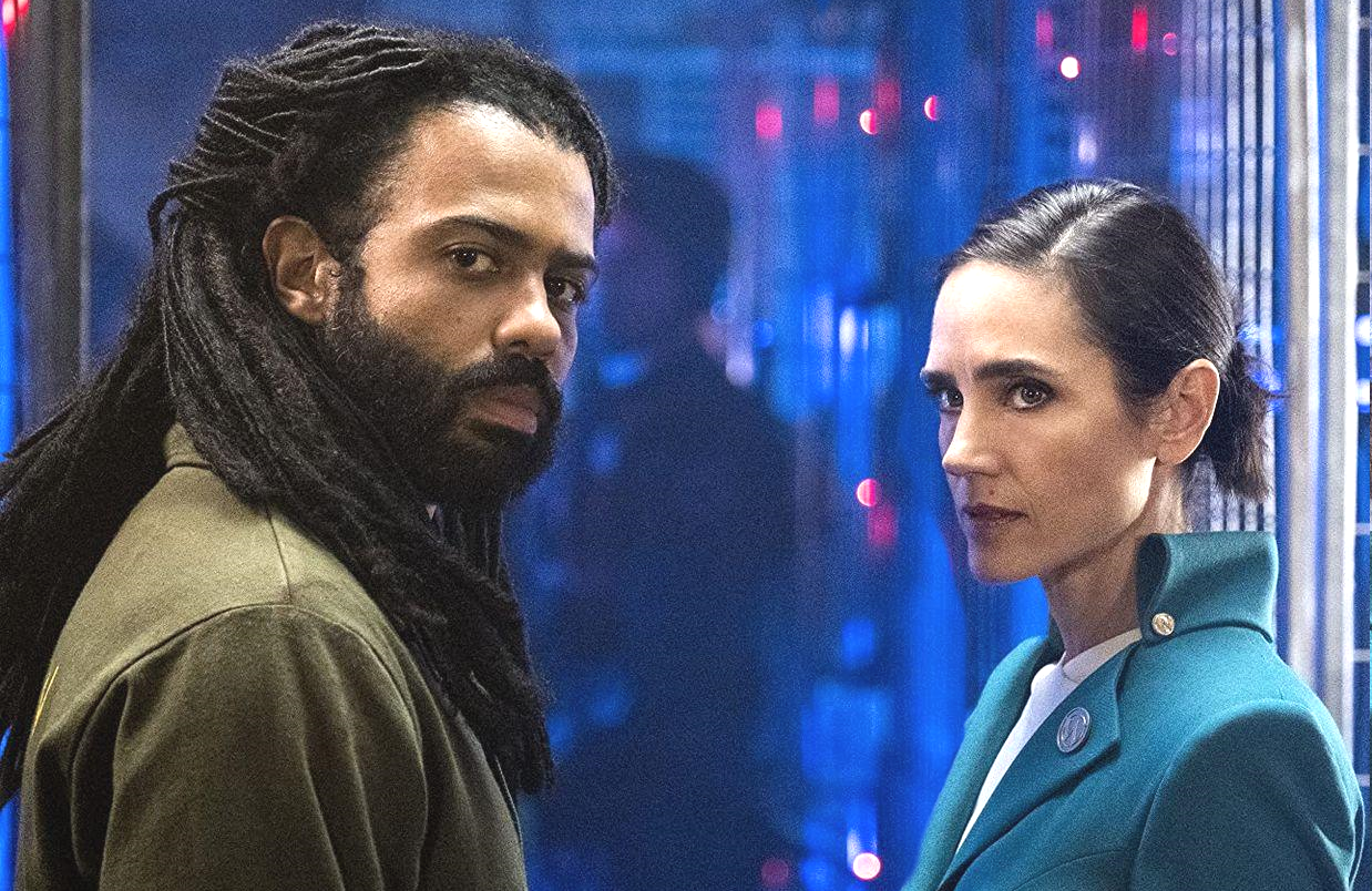 Daveed Diggs and Jennifer Connelly in Snowpiercer. (TNT)