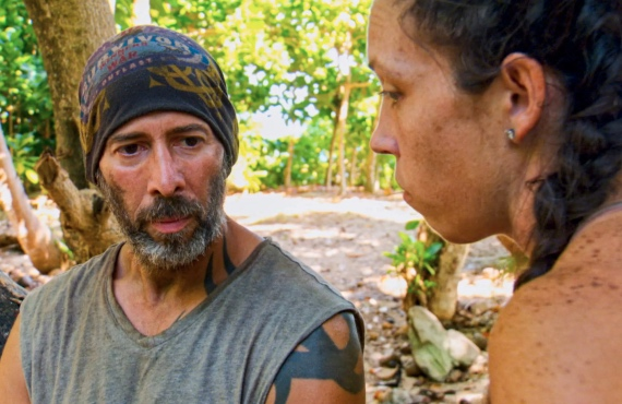 Tony Vlachos and Sarah Lacina  in Survivor: Winners at War(CBS)