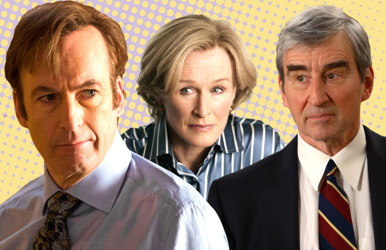 Saul Goodman (Bob Odenkirk), Patty Hewes (Glenn Close) and Jack McCoy (Sam Waterston) all made our list. (Photos: AMC/FX/NBC)