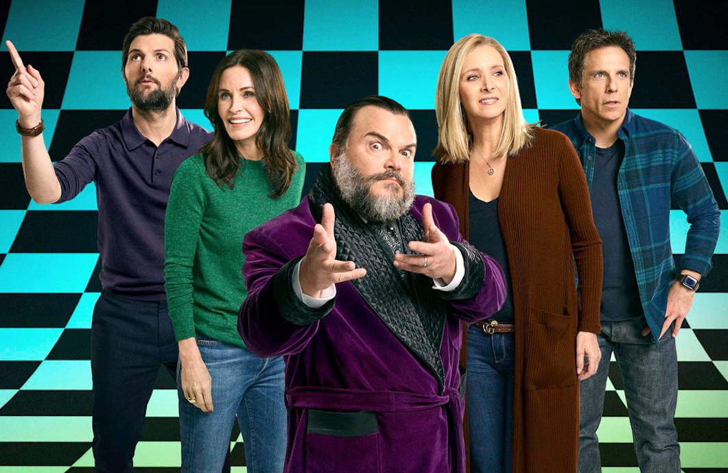 Adam Scott, Courteney Cox, Jack Black, Lisa Kudrow, and Ben Stiller in Celebrity Escape Room. (NBC)