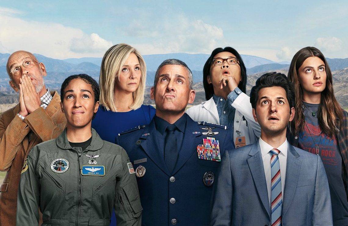 The lead cast of Space Force. (Netflix)