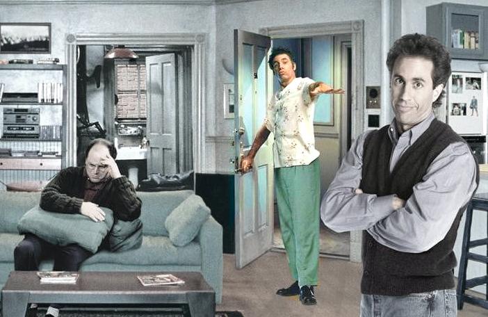 Jason Alexander, Jerry Seinfeld and Michael Richards as Kramer in Seinfeld (cue applause).