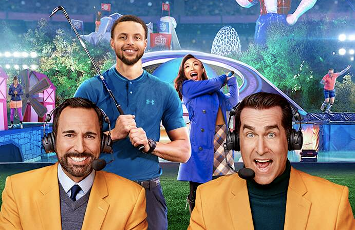 Joe Tessitore, Stephen Curry, Jeannie Mai, and Rob Riggle in a promotional image for Holey Moley II: The Sequel. (ABC)