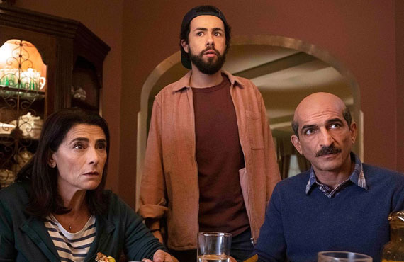 Hiam Abbass, Ramy Youssef, and Amr Waked in Ramy. (Hulu)