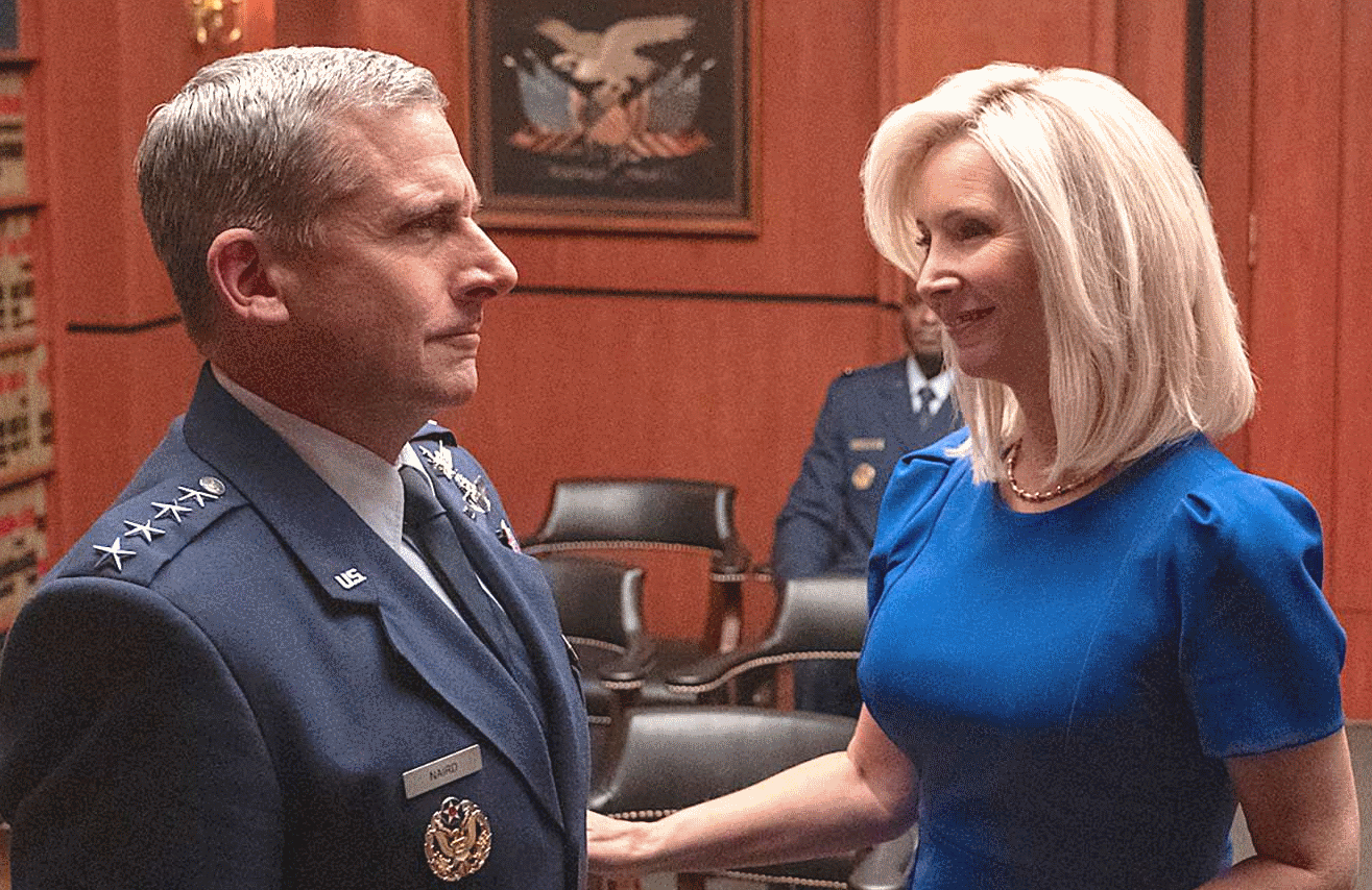 Steve Carell and Lisa Kudrow in Space Force. (Photo: Netflix)