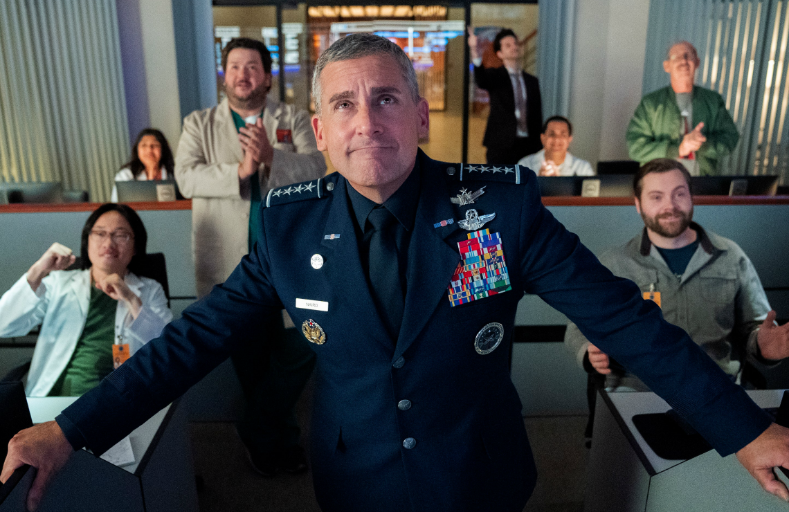 SIGN OF THE TIMES: The same day Netflix premiered Space Force, CBS aired Haircut Night in America. (Photo: Netflix)