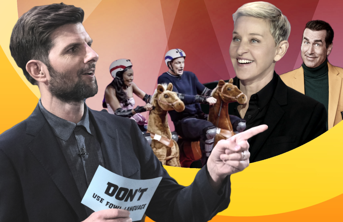 Don't and its host Adam Scott join a growing wave of primetime TV game shows that includes Game On!, Ellen's Game of Games and Holey Moley. (Photos: ABC/CBS/NBC)