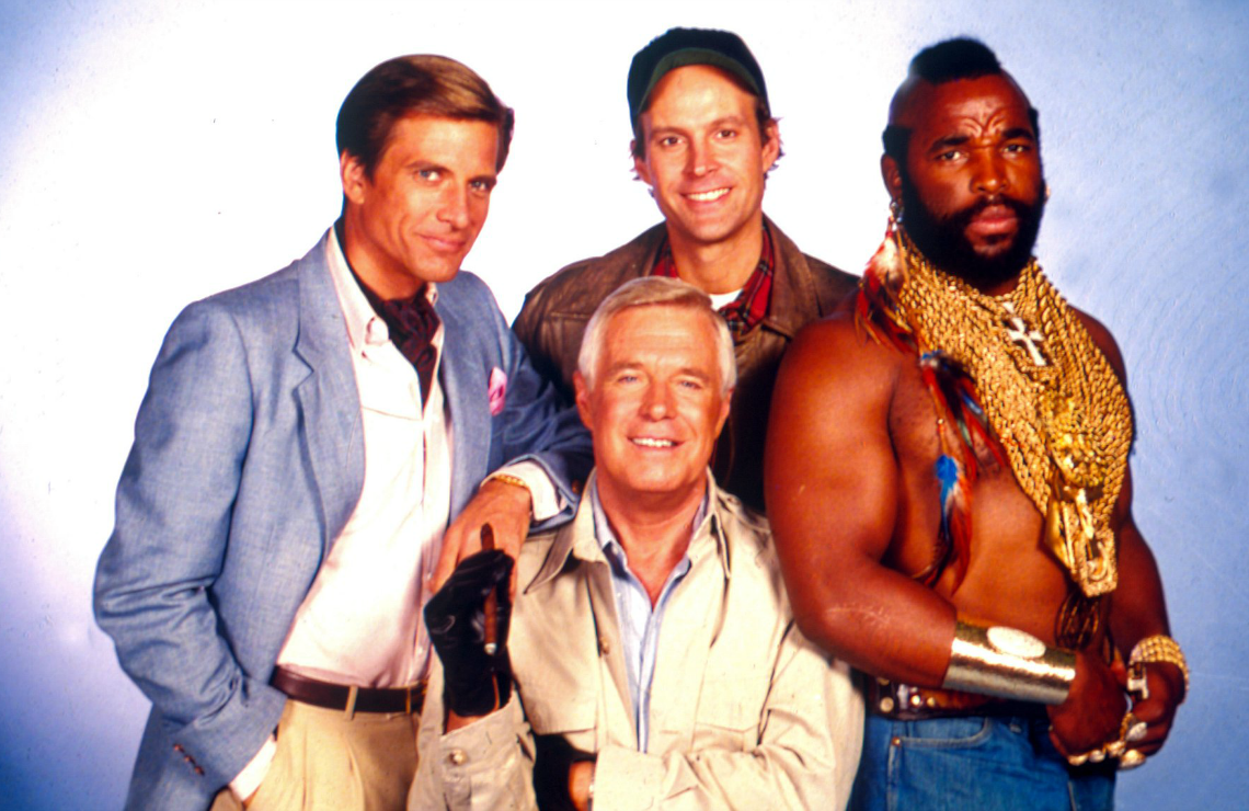 Dirk Benedict, George Peppard, Dwight Schultz, and Mr. T in The A-Team. (NBC)