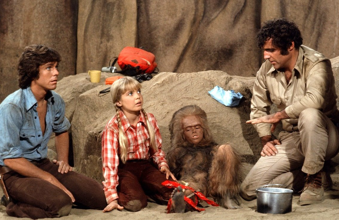 Wesley Eure, Kathy Coleman, Phillip Paley, and Spencer Milligan in Land of the Lost. (NBC)