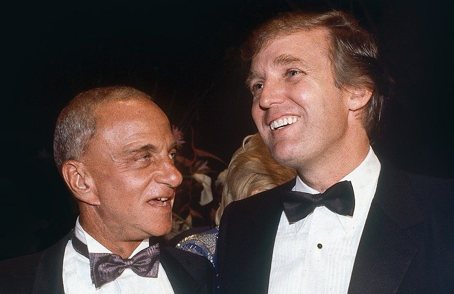 Roy Cohn and Donald Trump at the opening of Trump Tower in 1983, as seen in Bully. Coward. Victim. The Story Of Roy Cohn. (HBO)