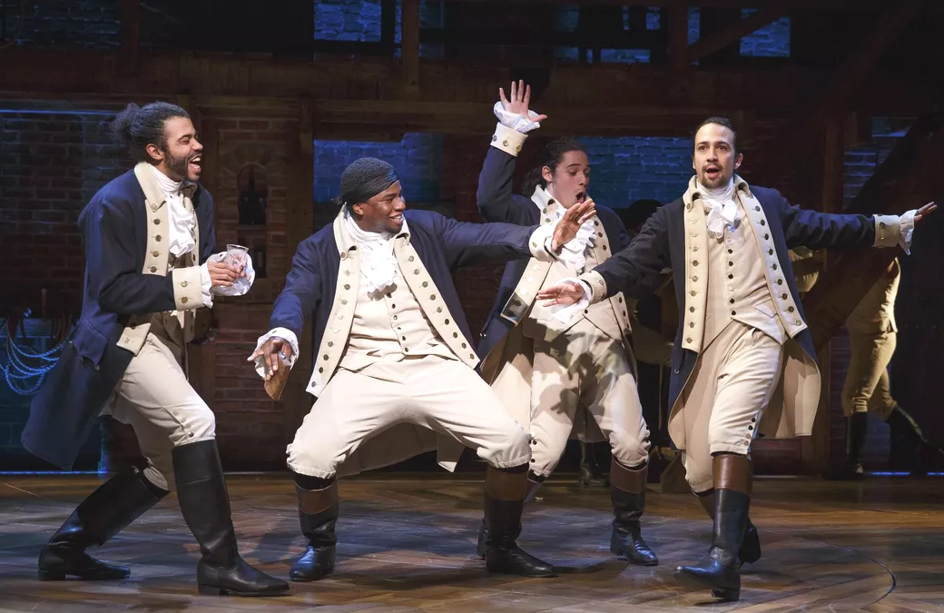 Daveed Diggs, Okieriete Onaodowan, Anthony Ramos, and Lin-Manuel Miranda in the original Broadway cast of Hamilton. (Photo: Joan Marcus)