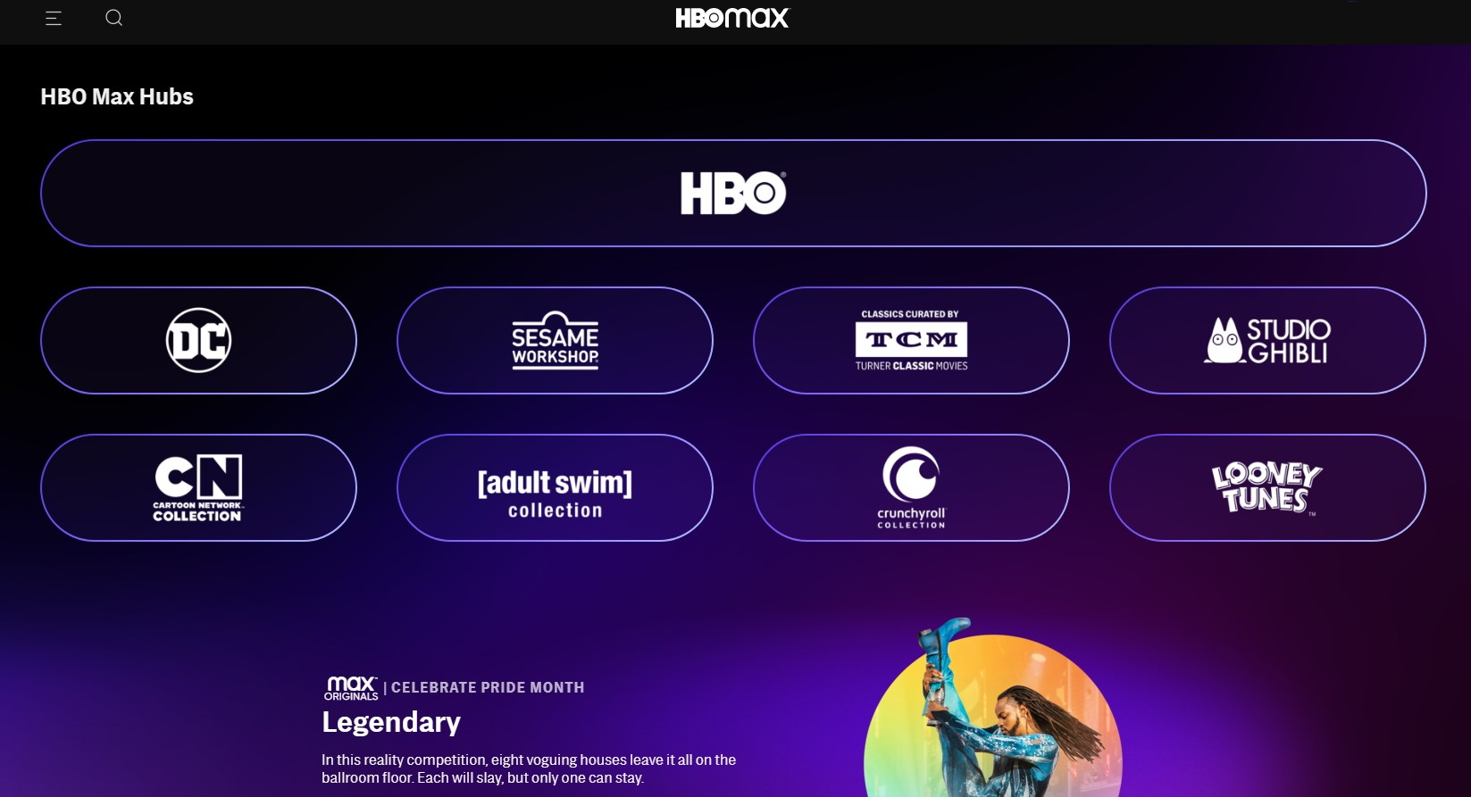 HBO Max content hubs
