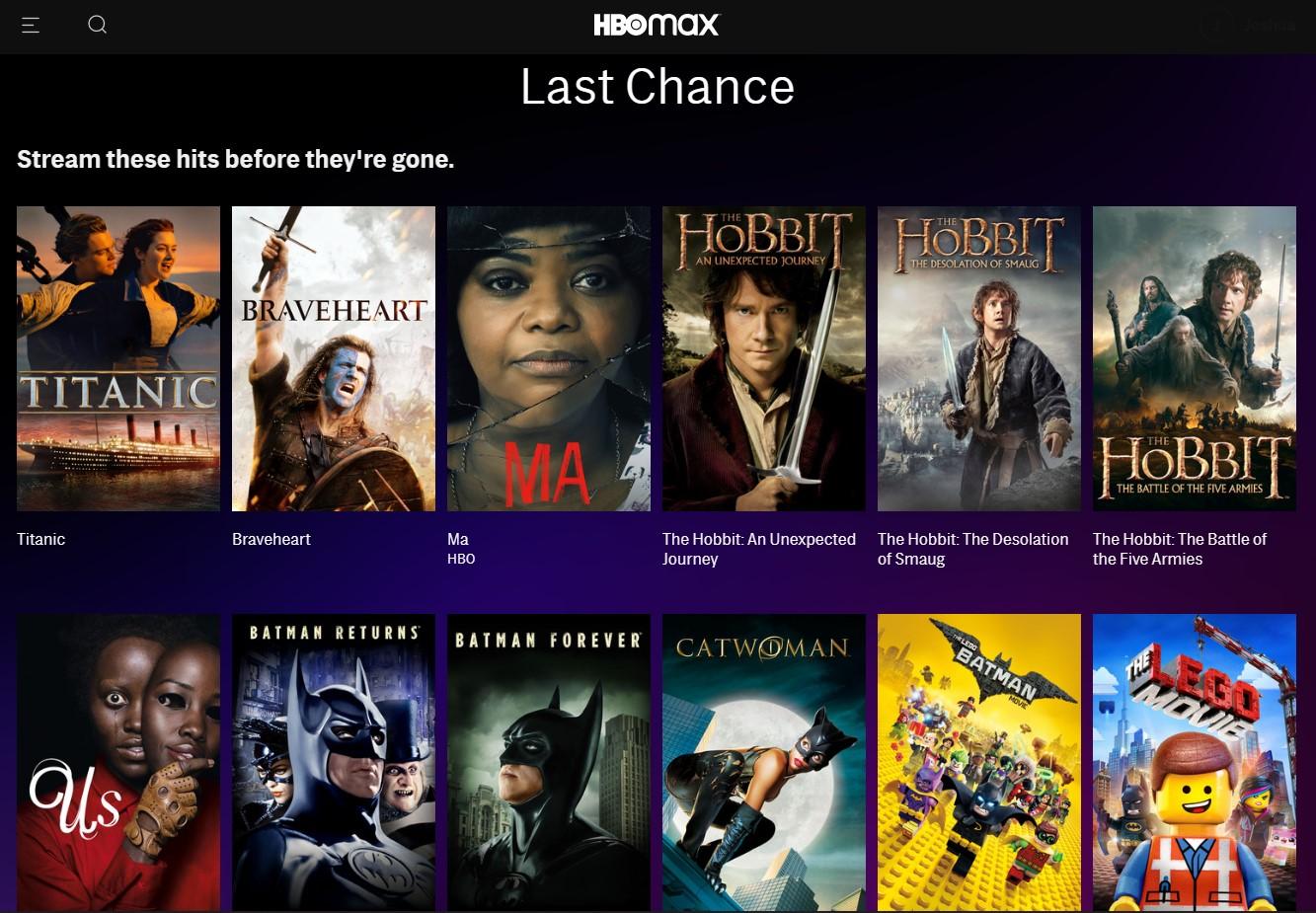 HBO Max last chance menu