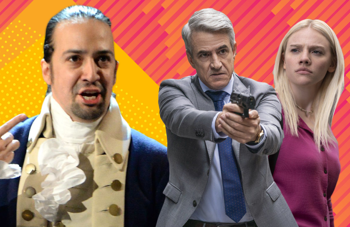 Lin-Manuel Mirada in Hamilton, Dermot Mulroney and  Esmé Creed Miles in Hanna. (Photos: Disney+, Amazon)