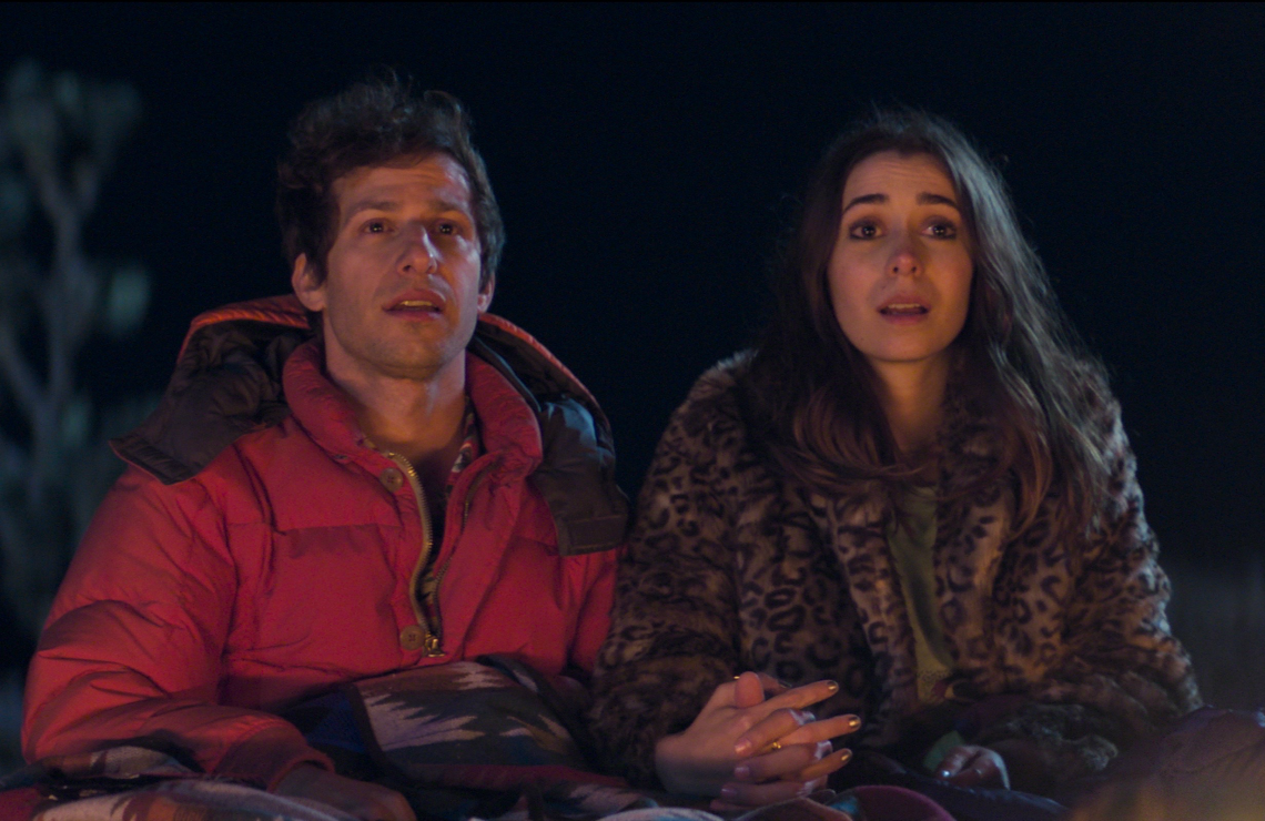 Andy Samberg and Cristin Milioti in Palm Springs. (Photo: Hulu)