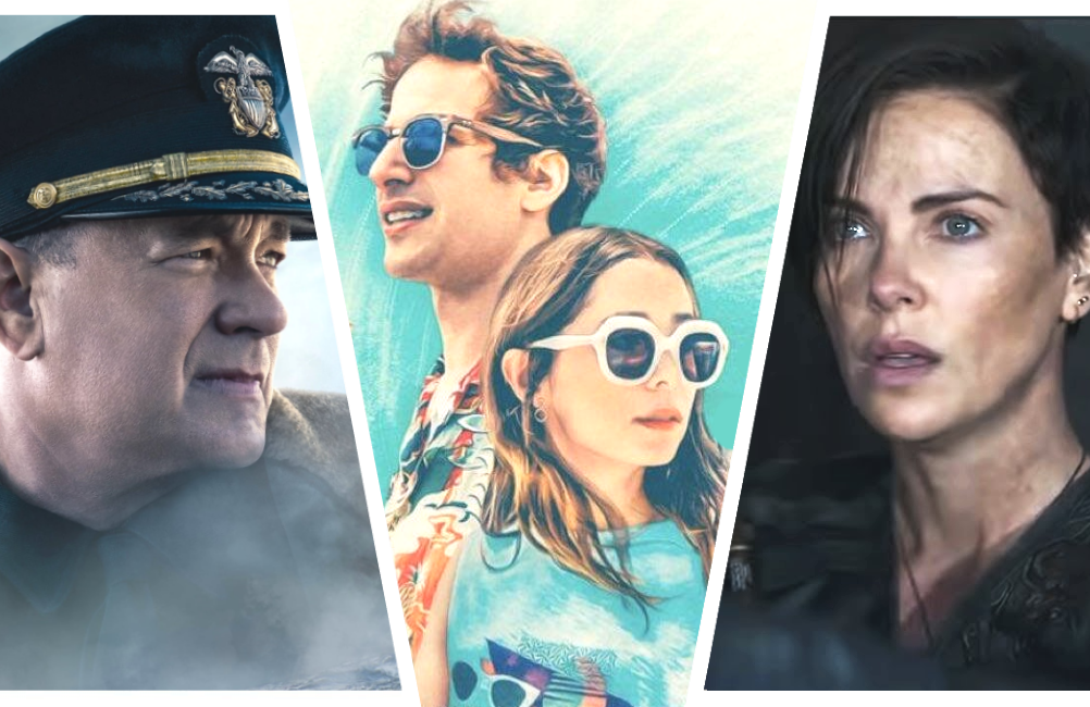 Tom Hanks in Greyhound, Andy Samberg and Cristin Milioti in Palm Springs, and Charlize Theron in The Old Guard. (Photos: Apple TV+/Hulu/Netflix)