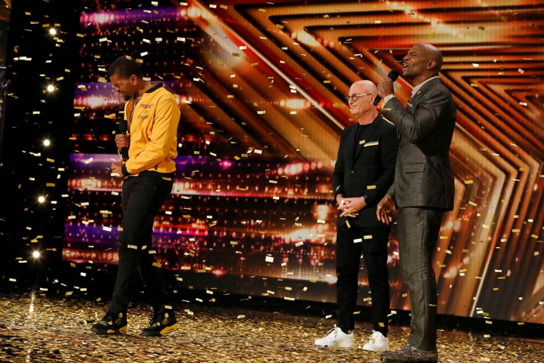 Brandon Leake, Howie Mandel, and Terry Crews on America's Got Talent. (Photo: NBC)