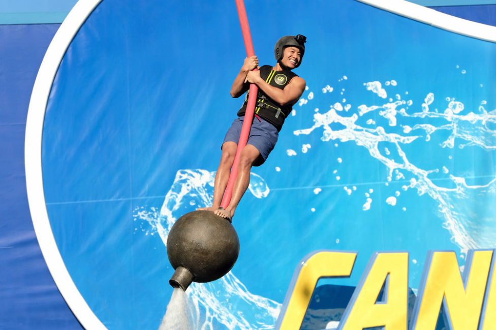Contestant Josiah Johnson takes on ride on USA's Cannonball.  (Photo by: Eddy Chen/NBC/USA Network)