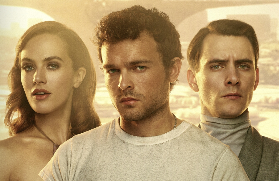 Jessica Brown Findlay, Alden Ehrenreich and Harry Lloyd star in Brave New World. (Peacock)