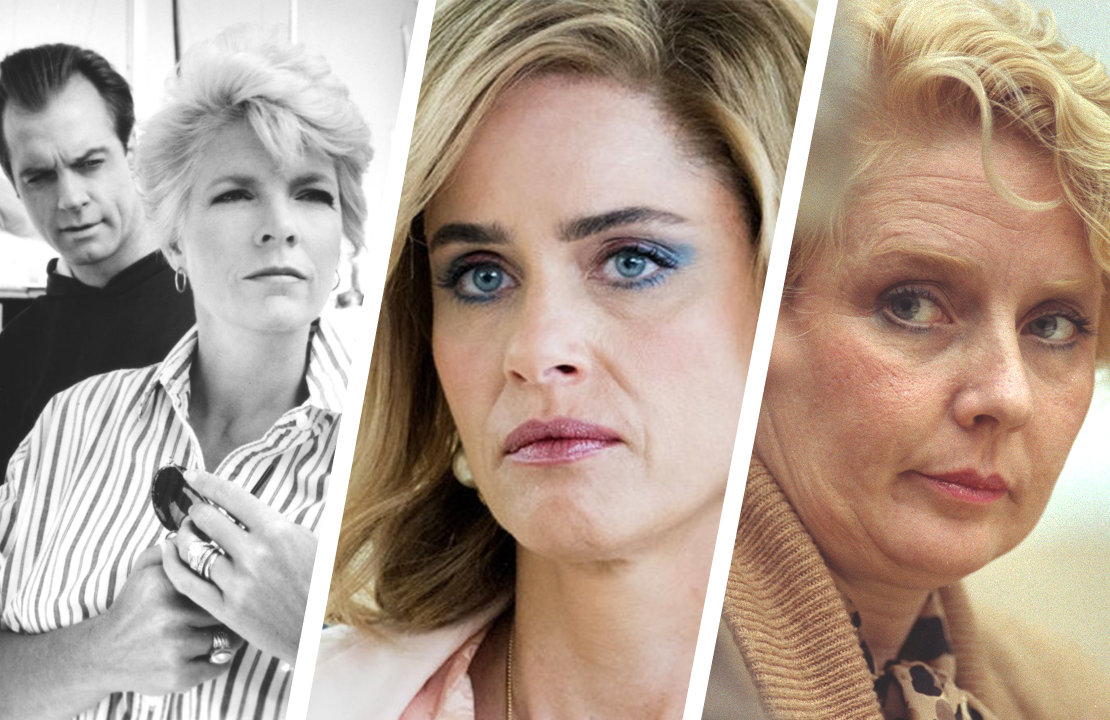 Stephen Collins & Meredith Baxter in A Woman Scorned, Amanda Peet in Dirty John, and Betty Broderick herself in Snapped. (CBS/USA/Oxygen)