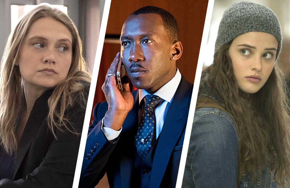 Merritt Wever in Unbelievable,  Mahershala Ali in Luke Cage and Katherine Langford in 13 Reasons Why. (Netflix)