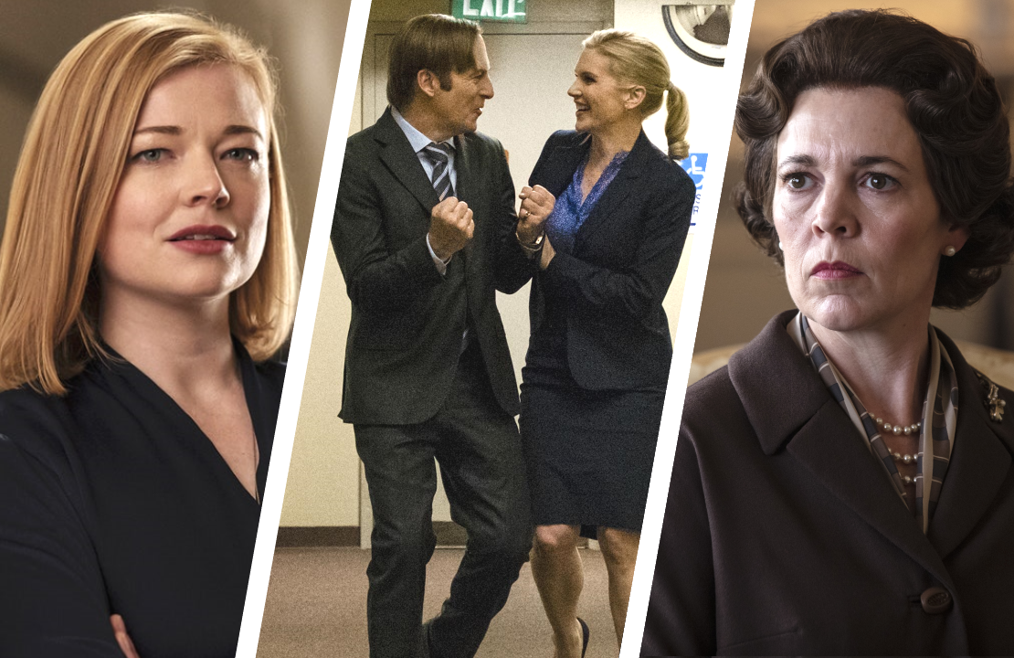 Succession, Better Call Saul and The Crown are set to battle it out in the Drama categories at the 2020 Emmys. (Photos: HBO, AMC and Netflix)