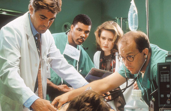 George Clooney, Eriq LaSalle, Sherry Stringfield, Anthony Edwards in ER. (Warner Bros.)