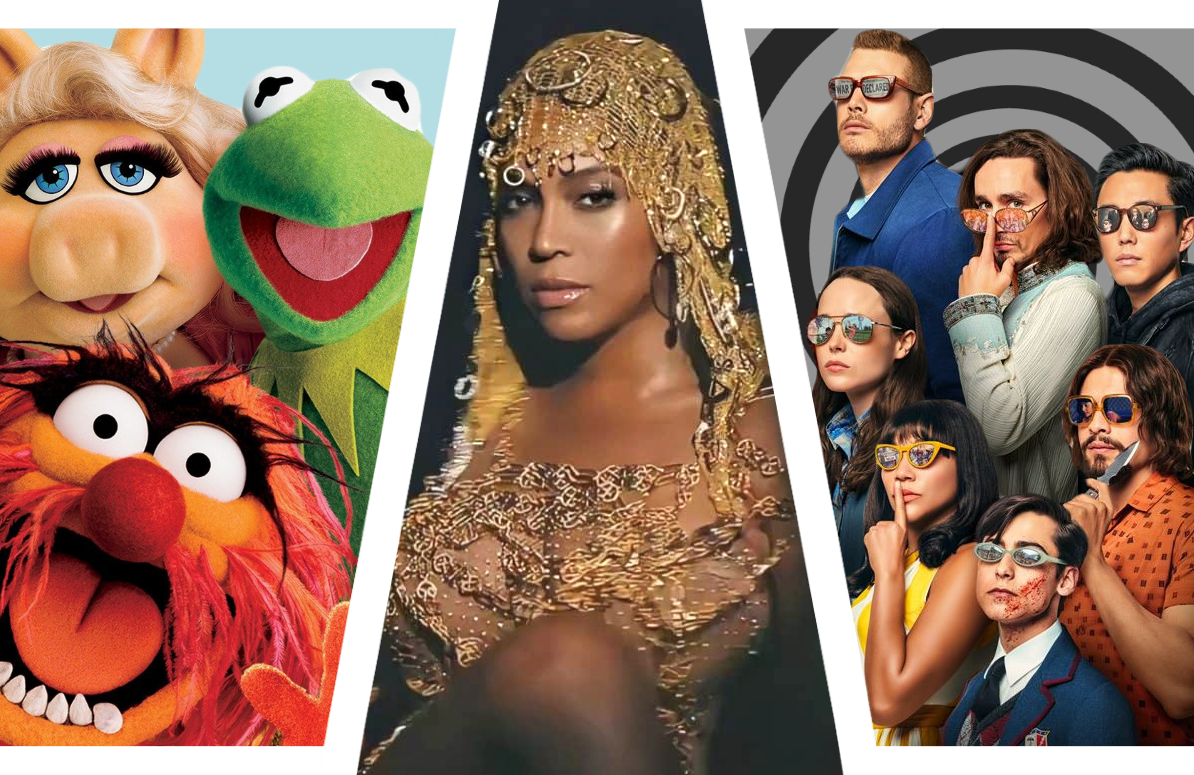 Muppets Now, Black is King, and The Umbrella Academy.  (Photos: Netflix/Disney+)