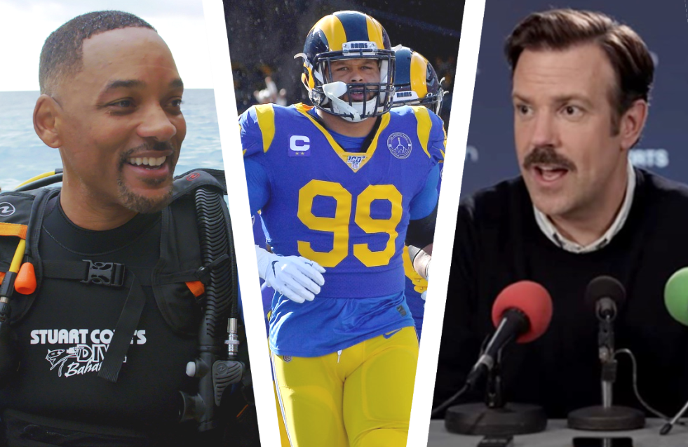 Will Smith in Discovery's Shark Week special Off The Deep End, Hard Knocks: LA and Jason Sudeikis in Ted Lasso. (Photos: Discovery/HBO/Apple TV+)