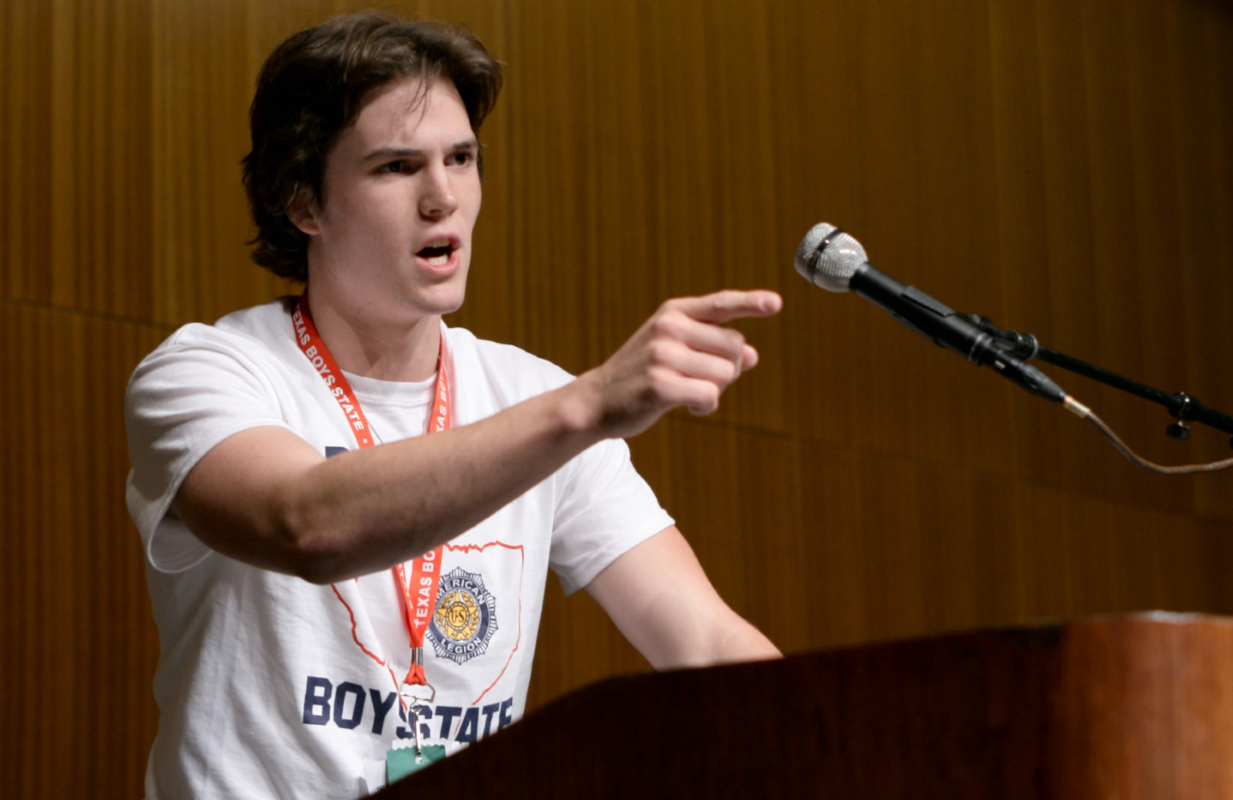 Texas Boys State gubernatorial candidate Robert MacDougall makes a campaign speech in Boys State. (Photo: Apple TV+)