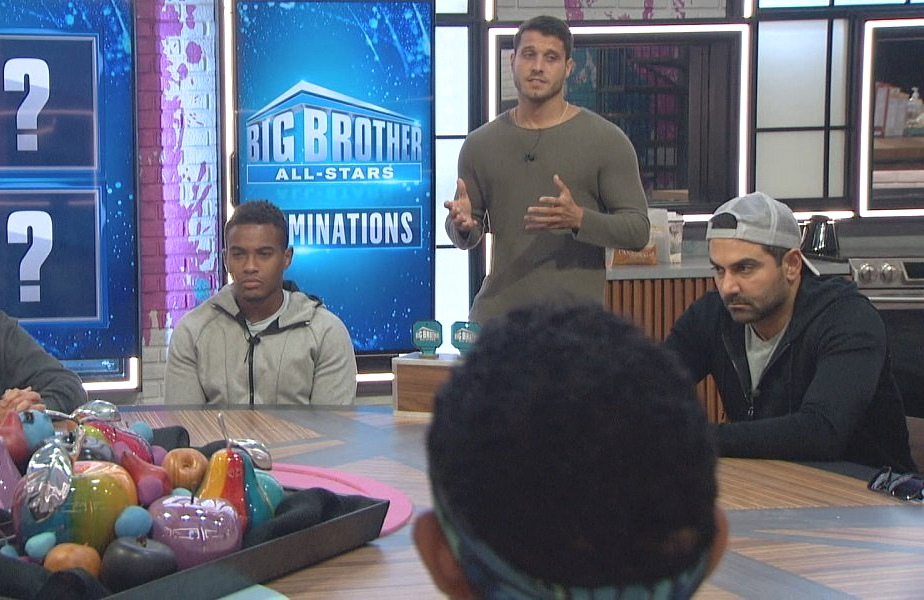Between the safety suite competition and the nomination ceremony, Sunday's jam-packed Big Brother  was left with precious little time for scene setting and strategy talk.  (Photo:CBS)