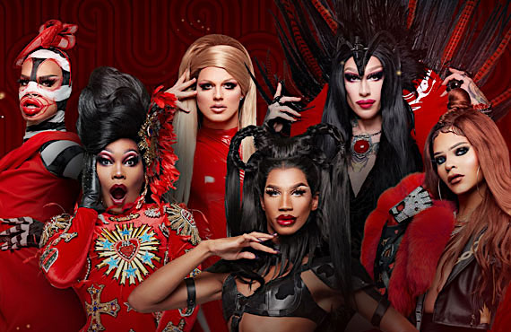 Yvie Oddly, Asia O'Hara, Derrick Barry, Naomi Smalls, Kameron Michaels, and Vanessa Vanjie Mateo in Drag Race: Vegas Revue. (VH1)