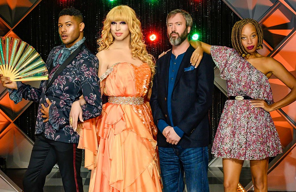 Canada's Drag Race judges Jeffrey Bowyer-Chapman, Brooke Lynn Hytes and Stacey McKenzie with guest judge Tom Green. (Photo: Crave/WoW)