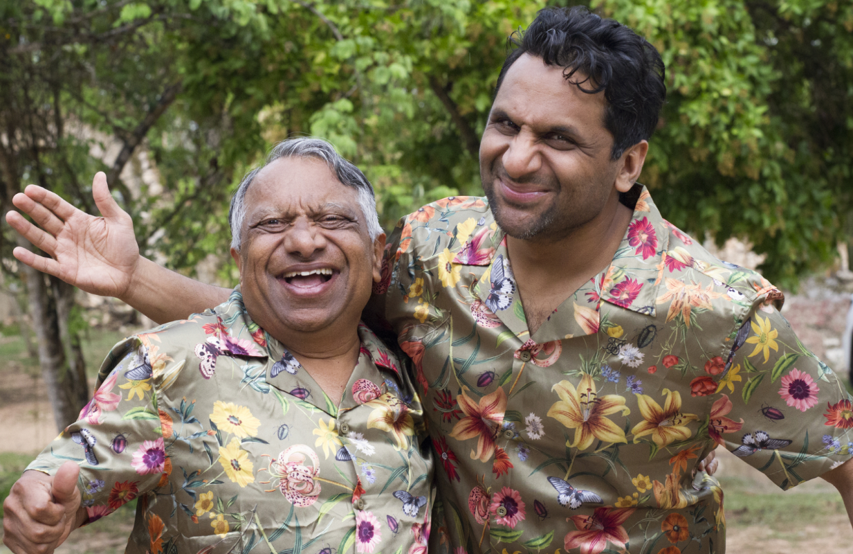 Ravi Patel (right), travels to Mexico with his father Vasant in the first episode of  Ravi Patel's Pursuit of Happiness. (HBO Max)